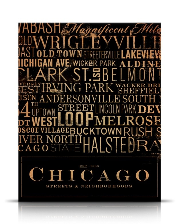 Chicago Streets Typography graphic art on canvas 16 x 20 by stephen fowler. $155.00, via Etsy.