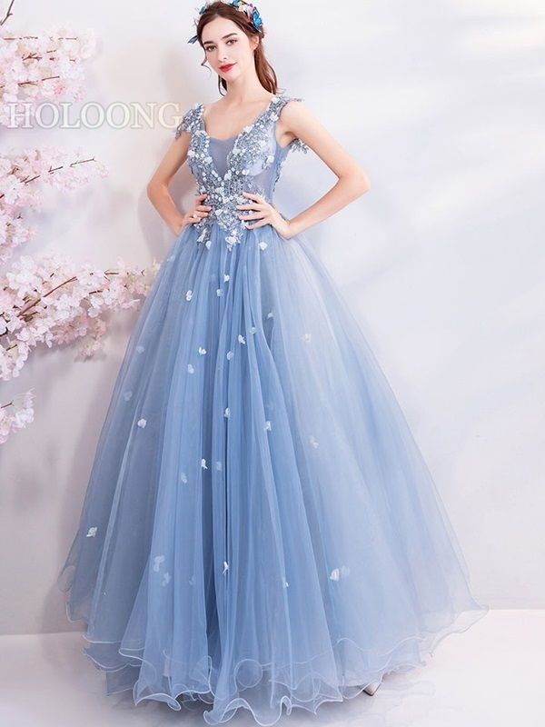 Gauze Formal Dress Lightblue Flowers Long Ball Gown Evening