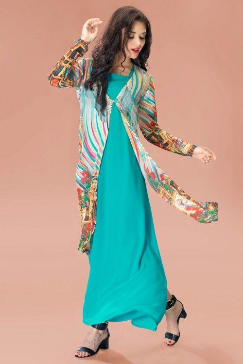Aqua Georgette Tunic with Multi-color Chiffon Jacket