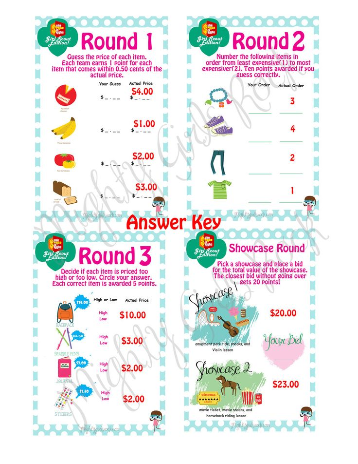 Money Manager Price Is Right Game Cards Brownie Girl