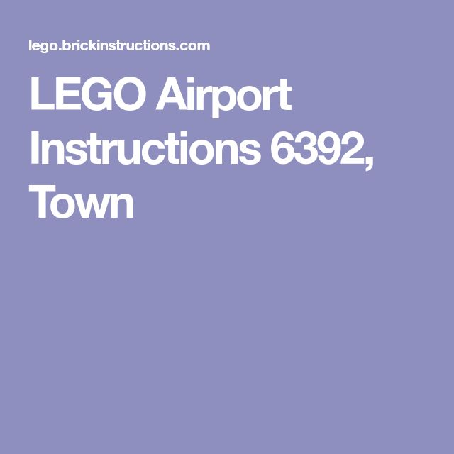 LEGO Airport Instructions 6392, Town