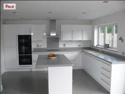 Dove Grey Corian On Gloss White Kitchen Pinterest