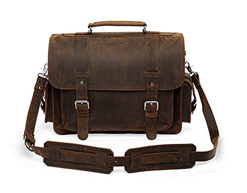 Leather Luxury 16 Handmade Brown Buffalo Leather Lawyers Briefcase Messenger Bag Satchel Backpack * Click image to review more details.