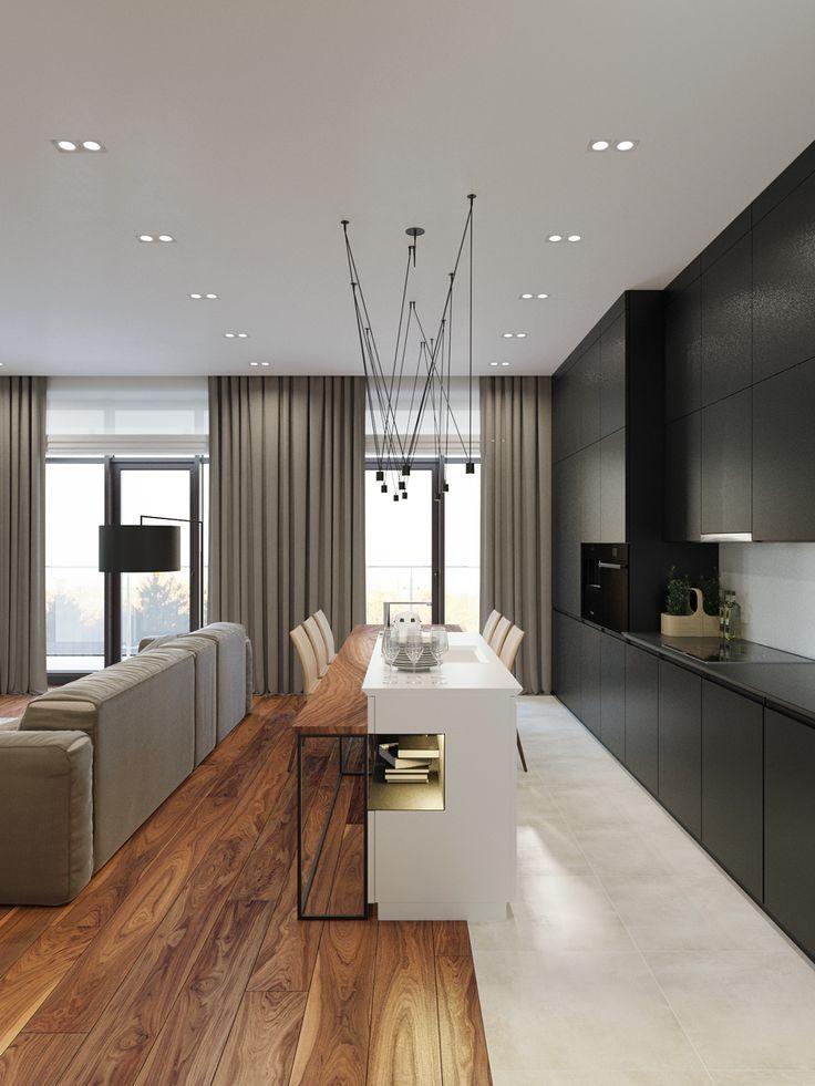 sala cozinha integrada; madeira; bancada alta; ilha cozinha; cozinha preta;