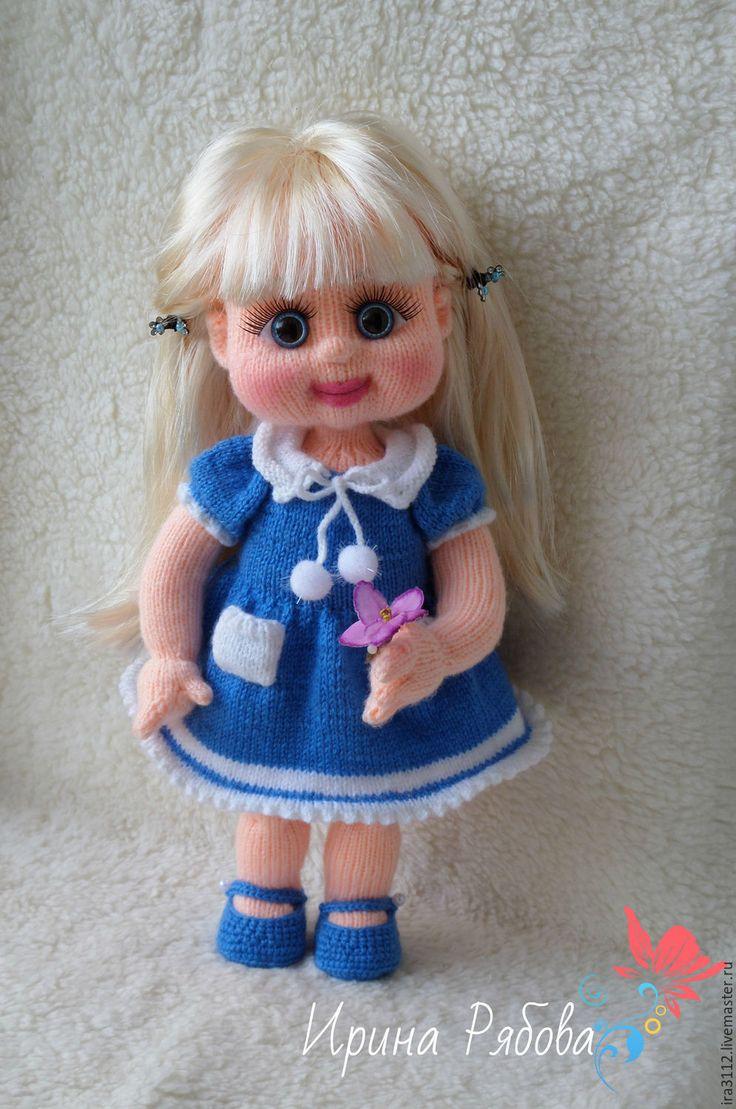 Купить Светланка - синий, куколка, человечки, девочка, подарок, интерьерная кукла, Вязанная кукла, игрушка