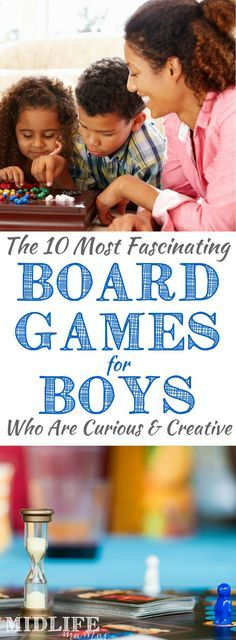 Are you looking for good ideas for indoor board games for boys? Our love of board games is one of my favorite things about our family life. These board games for boys are simple and low tech, but they always deliver on the fun! My guys are creative kids who love a great challenge. If yours are too - this list is pure gold!! Save it and share it...you'll be glad you did! #gamesforboys #creativekids #boardgames #indoorgames www.themidlifemamas.com