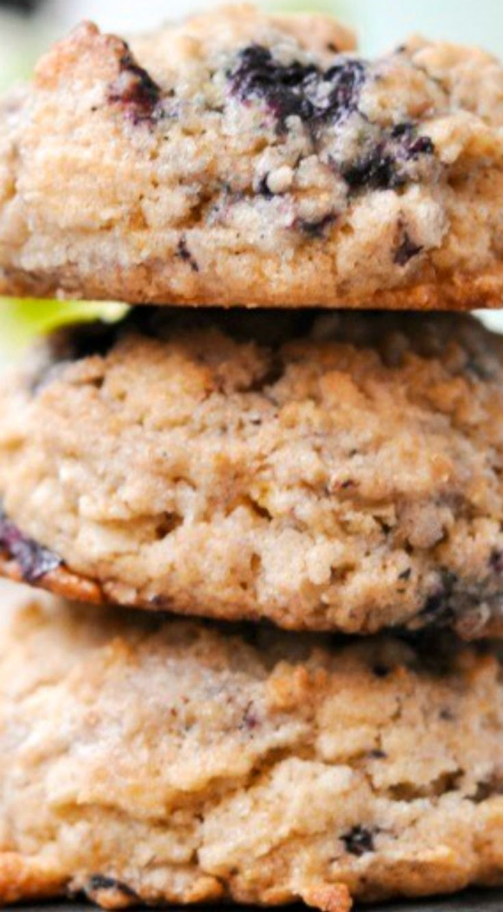 Blueberry Muffin Oatmeal Cookies ~ Puffy, chewy, delicious cookies.