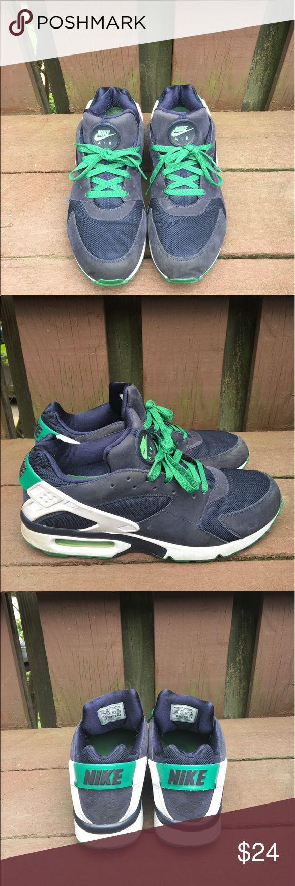 Nike Air Huarache ACG Sportswear 10.5 Sneakers Nike Air Huarache men's running sneakers 10.5 Navy Blue with Green Laces. Very rare sneaker Nike Air Shoes Sneakers