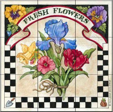 Tile Mural - Fresh Flowers   - Kitchen Backsplash Ideas traditional-tile-murals