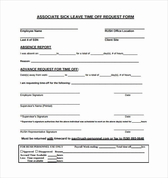 Sick Leave Form Template New 24 Time F Request Forms To Download Time Off Request Form Business Cards Online Templates