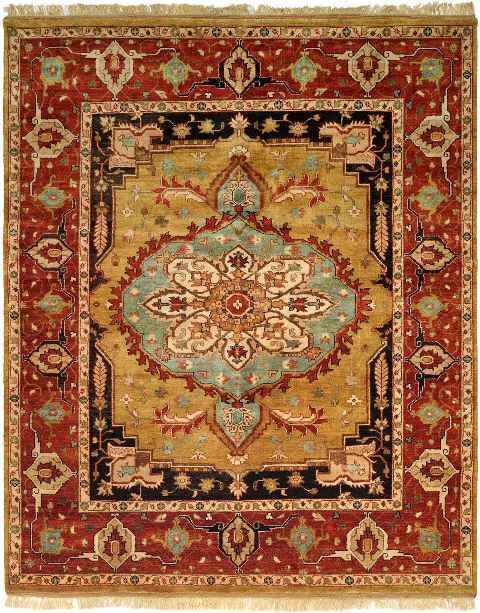 Red And Yellow Rug In A Traditional Design Traditional