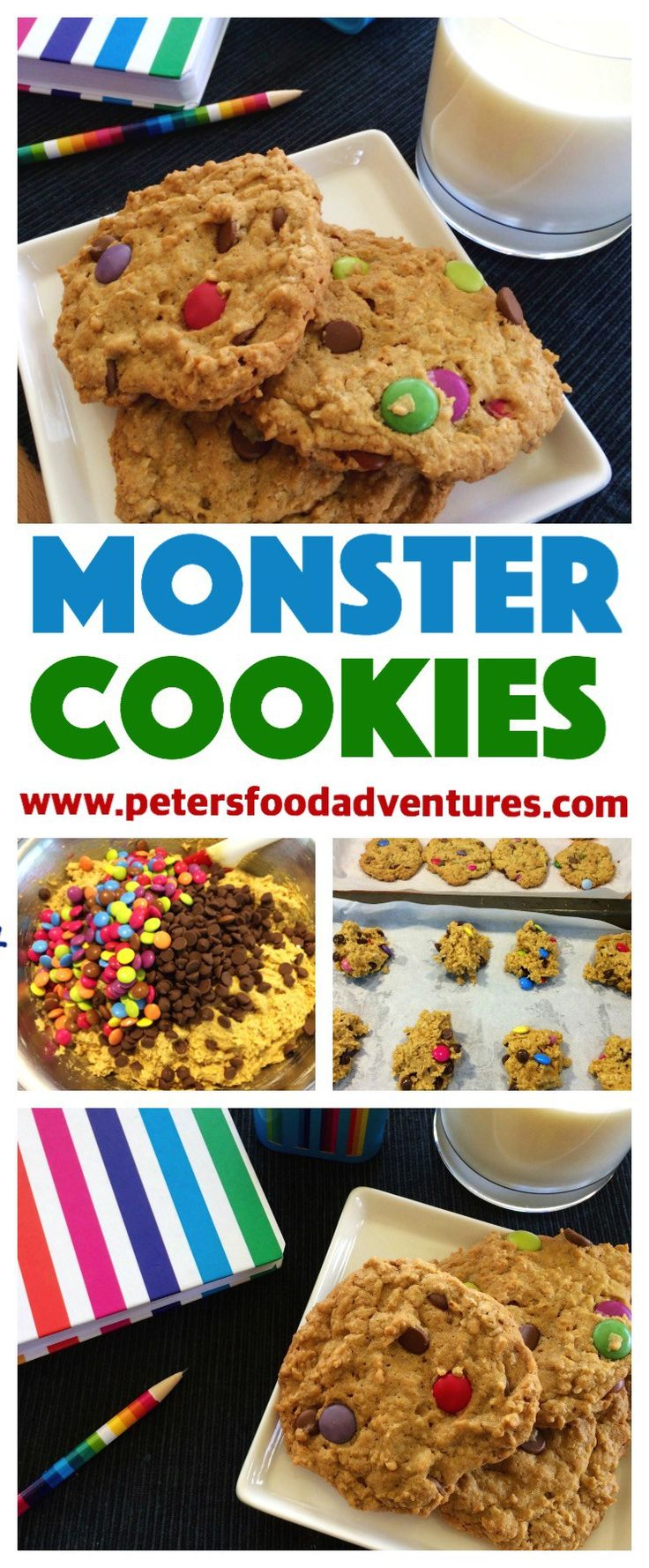 Everything You Want in a Cookie! Oats, Smarties, Chocolate Chips, Peanut Butter! This Recipe Makes Enough To Feed A Small Army! Monster Cookies Recipe