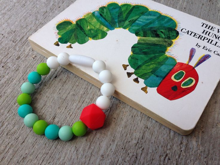 Little Caterpillar silicone teething bracelet by belovey on Etsy https://www.etsy.com/listing/233023763/little-caterpillar-silicone-teething