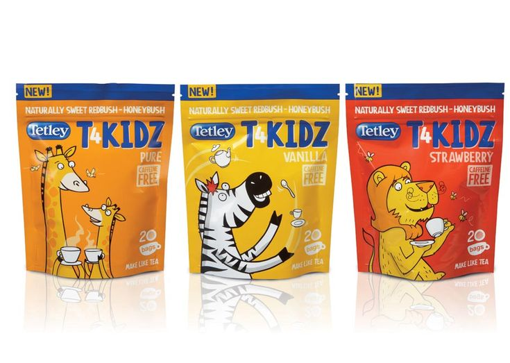 Tetley T4KIDZ range 2010: a blend made especially for the children's market. Illustrations by Phil Alderson of Stinky Whizzers