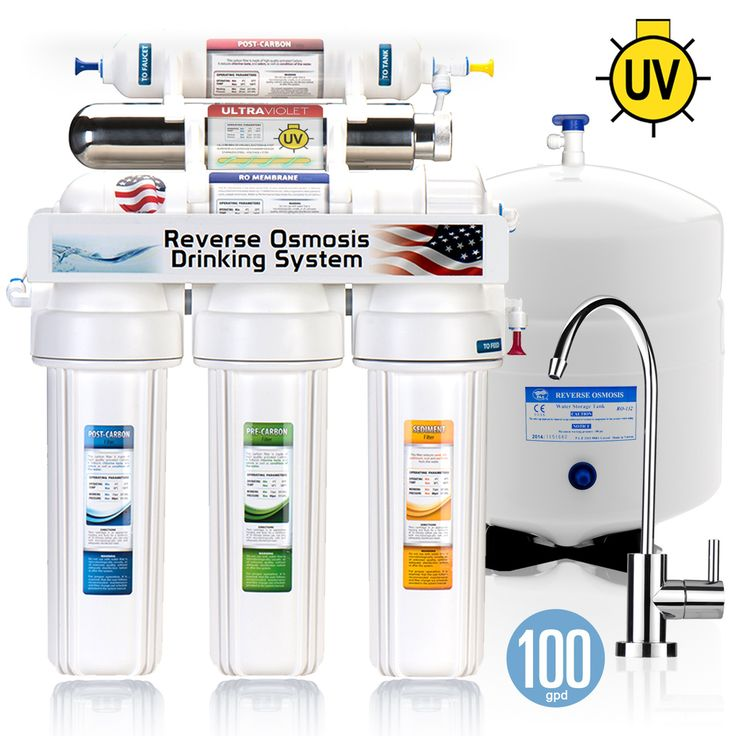 ROUV10M - Express Water 6 Stage UV Ultra-Violet Sterilizer Reverse Osmosis Home Drinking Water Filtration System -100 GPD- MODERN faucet - ROUV10M