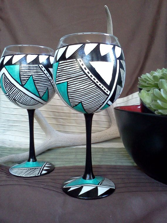 Hand painted Wine Glasses Southwestern by MountainGirlCreates