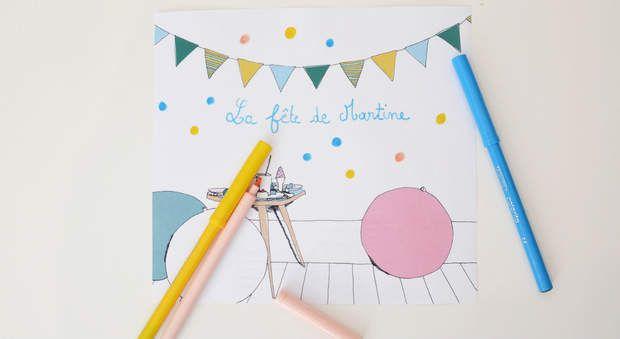 Carte d'anniversaire à colorierVotre enfant va adorer faire lui-même sa carte d'invitation. Misez sur l'originalité en créant des cartons d'invitation uniques et aux couleurs de la fête que vous organisez, grâce à ce printable gratuit à imprimer.