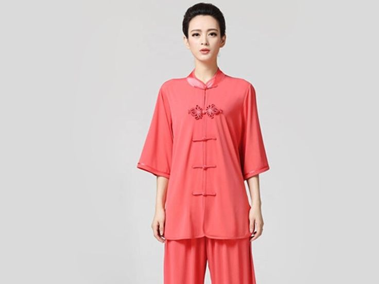 Tai Chi Clothing Half-sleeve Suit for Women Watermelon Red