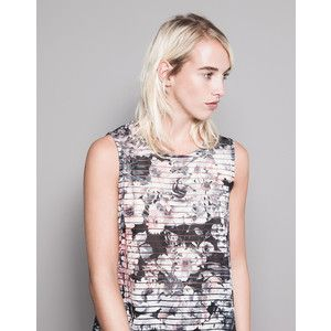 Pull & Bear Floral-Print Striped T-Shirt