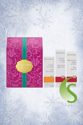 This cute little gift set will be on the wish list of many... three miniatures from Dr.Hauschka suitable for all skin conditions. Rich in antioxidants, this luscious Rose-scented collection of product miniatures plumps, smooths and protects skin, perfect for a radiant Christmas look! #SkinNutrition