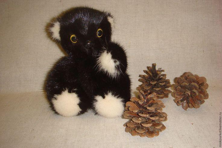 Купить Мишка тэдди из меха норки - черный, мишка тедди, мишка ручной работы