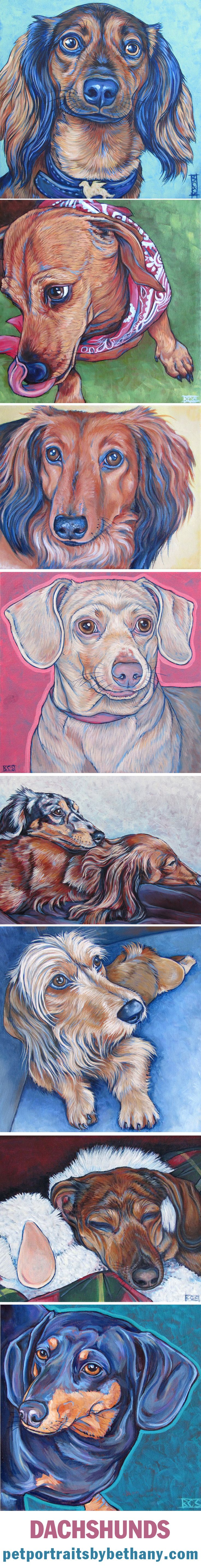 Dachshund Dogs Custom Pet Portrait Paintings in Acrylic Paint on Canvas from Pet Portraits by Bethany.