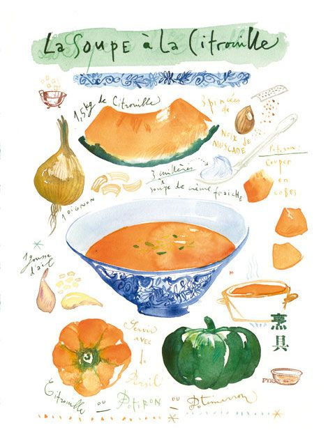 Pumpkin Soup Recipe by lucileskitchen | Go to Source for 35 Delicious Food Illustrations!