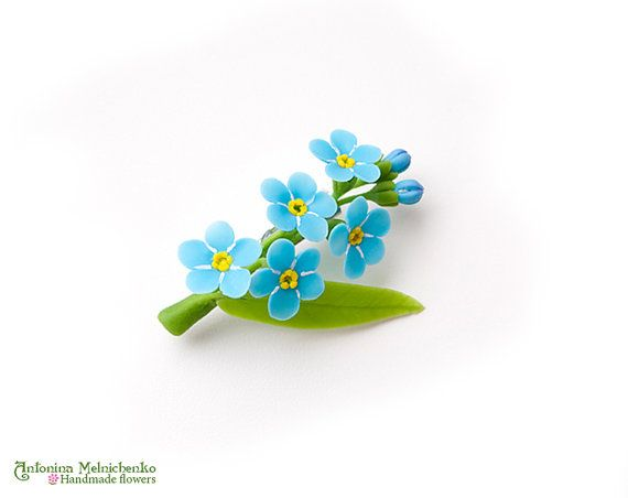 Brooch Forget-me-not  Polymer Clay Flowers by SaisonRomantique