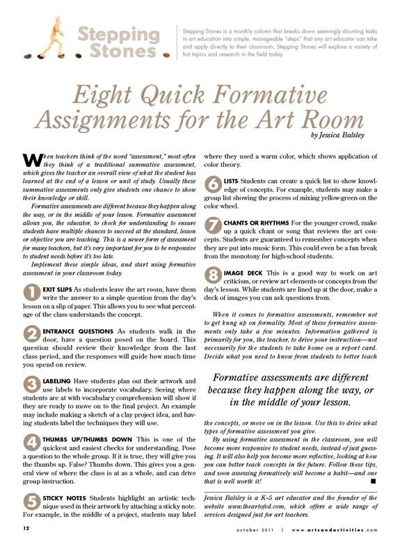 Formative assessments in the art room Arts & Activities - Page 28