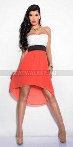 Csipke felsős alkalmi ruha, átlátszó szoknya résszel, alatta béléssel, fehér-eperpiros színben.