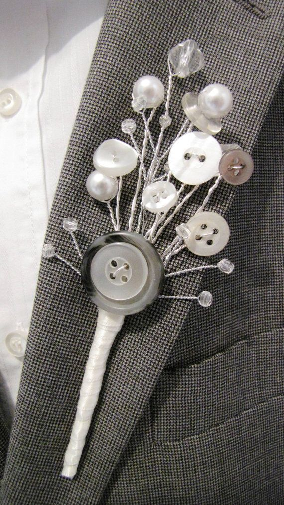 Men's / Groom Buttonhole / Boutonniere Vintage Button detail. £12.00, via Etsy.