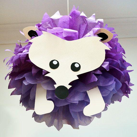 Hedgehog Tissue Paper Pom Pom Animal by PomLeMoose on Etsy