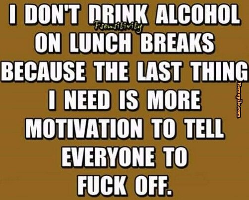 I don't drink alcohol on lunch breaks because the last thing I need, is more motivation to tell everyone to fuck off,humor,meme