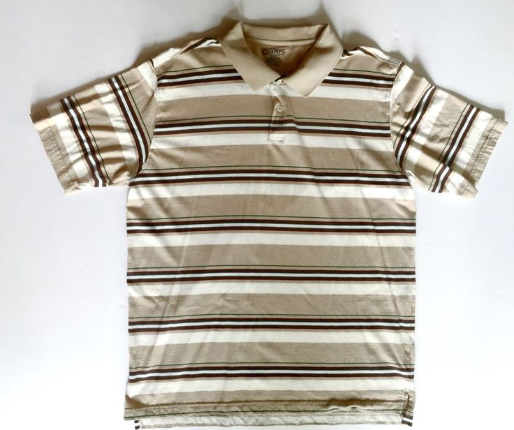 This Champs Sports men's polo shirt in 2XL is made of 100% cotton. Striped pattern is brown, beige/tan, green and cream. No rips, tears or stains. Comes from a clean, some-free home. | eBay!