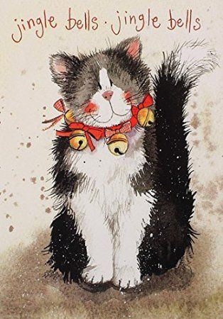 Alex Clark Charity Christmas Cards Jingle Bells Cat Pack of 5                                                                                                                                                                                 More