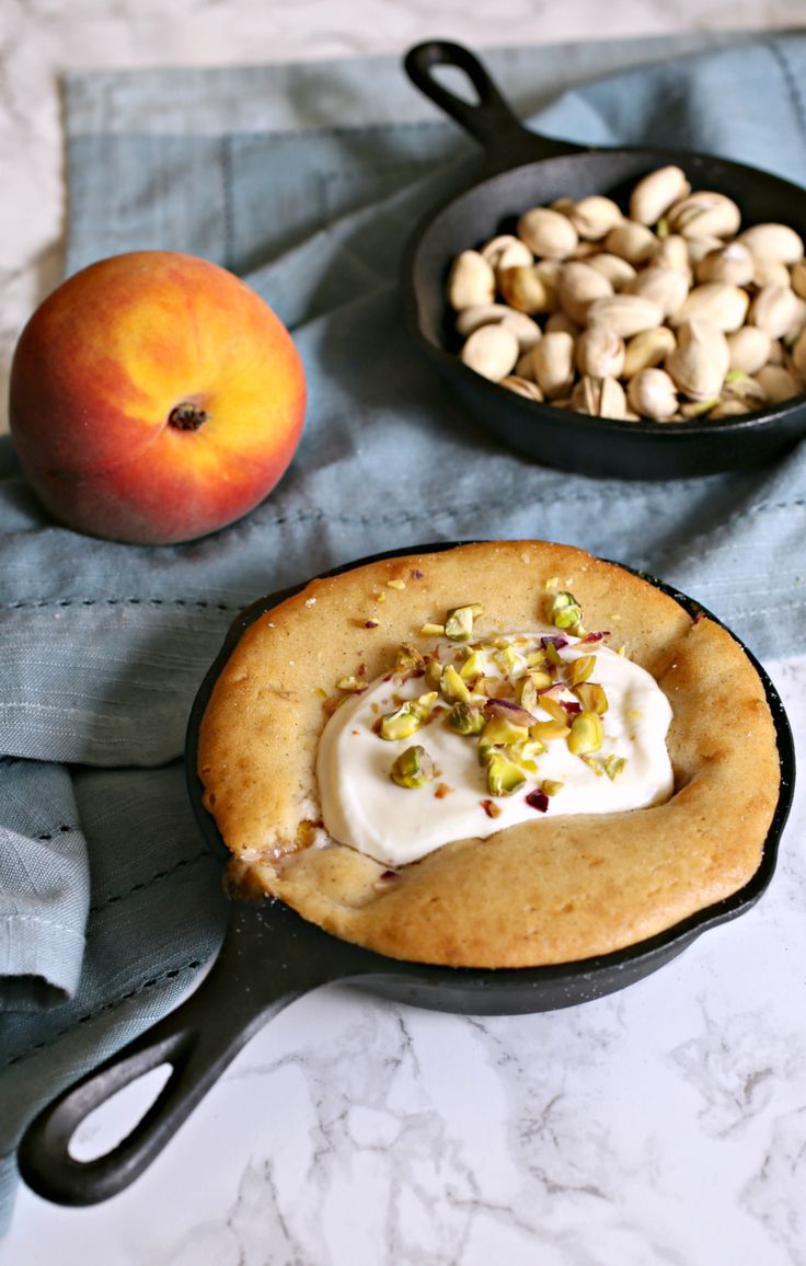 Skillet Peach Cobbler with Cardamom, Pistachios and Honey