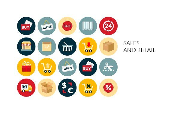 Flat icons set - Sales and Retail by sidmaydesign on @creativemarket