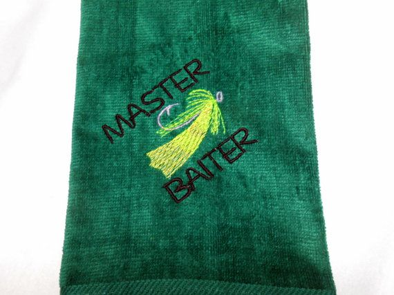 Fishing Towel Funny Fish Towel Master Baiter by arizonathreads