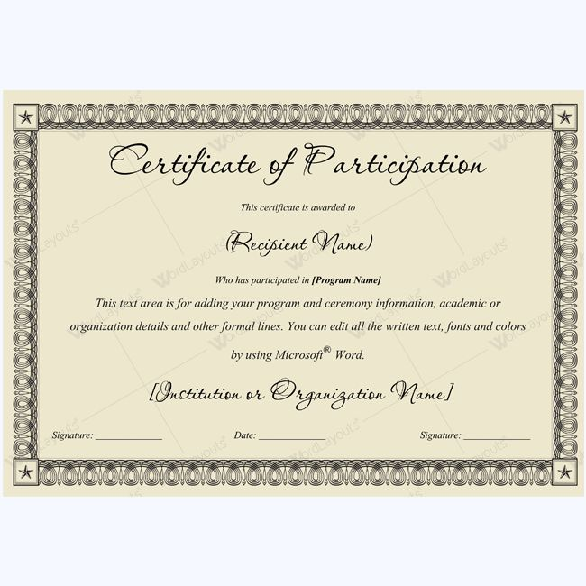 Certificate Of Participation Sports  EnderRealtyparkCo