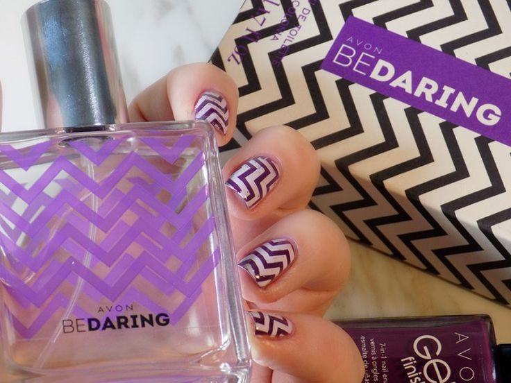 Check out blogger Tea & Nail Polish's  zigzag nails inspired by our new Be Daring fragrance (coming soon!) using our Avon Gel Finish 7-in-1 Nail Enamel in Purplicious