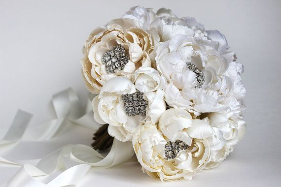 White and Ivory Silk Fabric and Crystal Heirloom by EmiciLivet
