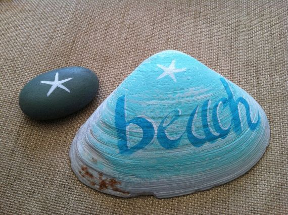 Hand Painted Maine Clam Shell, Ornaments And Accents, Coastal Beach Home Decor