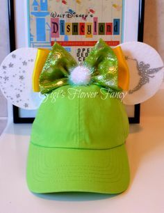 Tinkerbell Minnie Mouse Ear Hat | Sparkly Tinkerbell | Adult Size Baseball Hat Visor by GigisFlowerFancy on Etsy