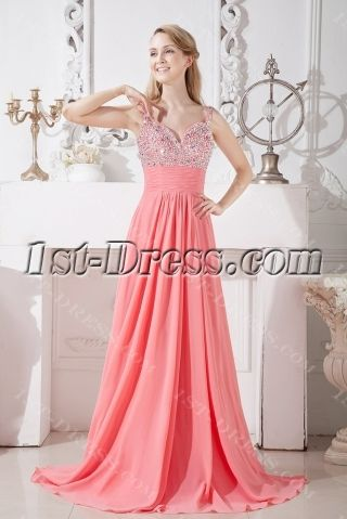 Coral Long Evening Dress for Party:1st-dress.com
