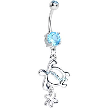 Aqua CZ Turtle with Clover Dangle Belly Ring | Body Candy Body Jewelry #bodycandy #piercings #bellyring