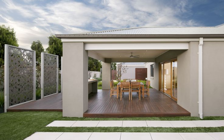 Like the privacy screen modern design (easy to maintain though?). Like the level deck from the house; ceiling; outdoor room; room for seating/table - looks finished and robust