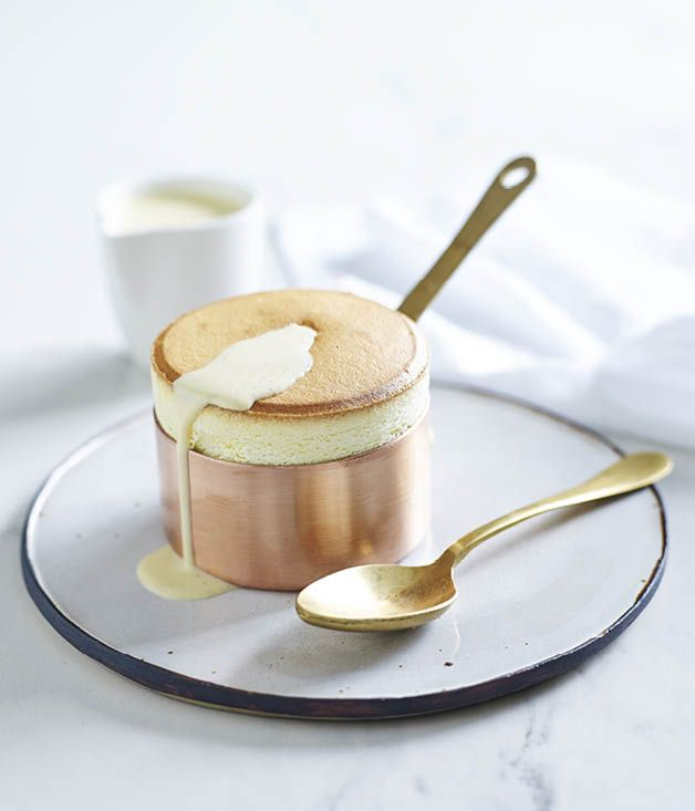 Passionfruit soufflés with vanilla Anglaise recipe, Guillaume Brahimi, Gourmet Institute :: Gourmet Traveller