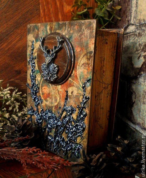 """Купить Шкатулка книга """" Сказки старого леса"""" - коричневый, зеленый, серебрянный, шкатулка"""