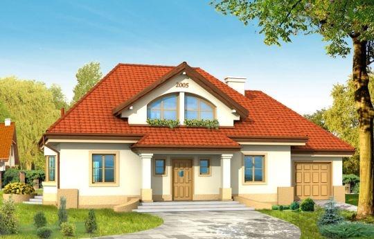 Projekt domu Faworyt to willa o zwartej bryle, nawiązująca do tradycyjnej architektury dworu polskiego. Przeznaczony jest dla 5 osobowej rodziny. Na parterze zaprojektowano dodatkowy pokój - do pracy lub, gościnny oraz obszerny salon z jadalnią otwarty na duży podcień. W projekcie domu Faworyt każdy pokój na poddaszu wyposażony jest w garderobę lub schowek.