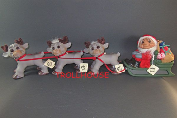 Christmas troll with 3 reindeers